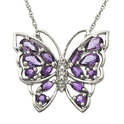 Zales Amethyst and Garnet Butterfly Pendant in Sterling Silver 3IGrDv
