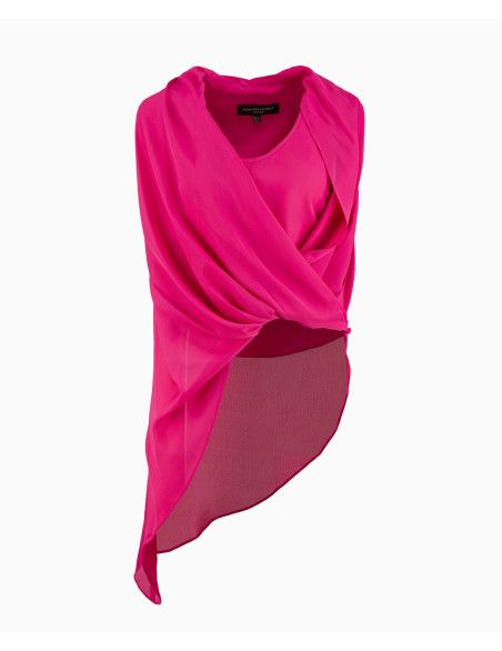 Forever Unique - Sleeveless Asymmetric Drape Blouse - Pink