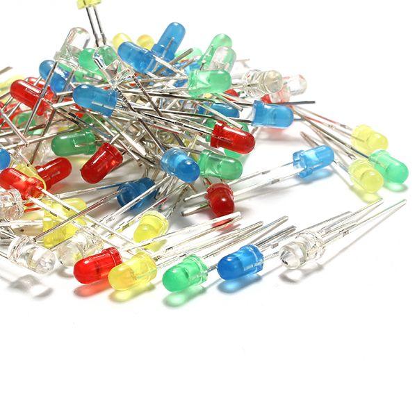 100pcs 3mm LED diodo emisor de luz 5 colores paquete de componentes electrónicos