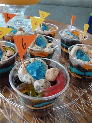 """Rock Mining / Geology birthday party: Layered """"Earth"""" Pudding Cups"""