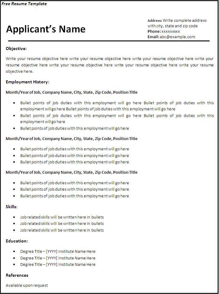 Resume Examples Printable Basic Resume Free Printable Resume