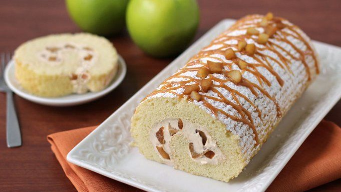 A moist vanilla cake rolled around caramel apple-cream cheese fluff.