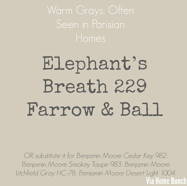 Warm Grays: often seen in Parisian homes - Elephant's Breath 229 Farrow & Ball. OR substitute Benjamin Moore Cedar Key 982; Benjamin Moore Smokey Taupe 983; Benjamin Moore Litchfield gray HC-78; Benjamin Moore Desert Light 1004.
