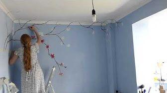 Мастер класс Как нарисовать цветы своими руками по декоративной штукатурке *Необычный декор стен* - YouTube