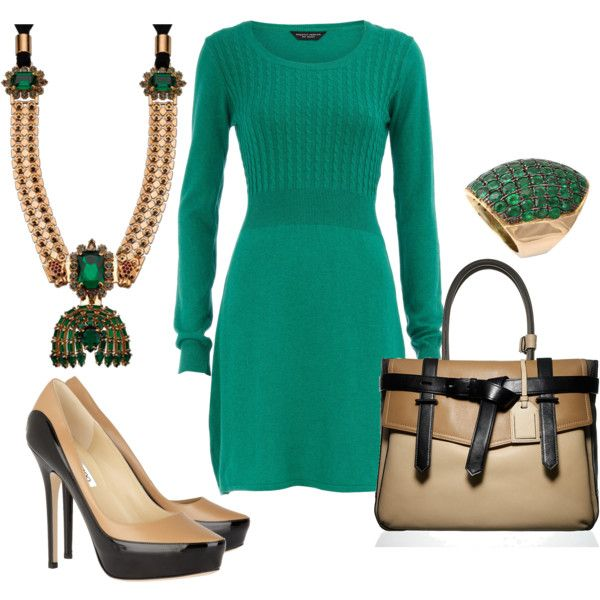 emerald green outfit.