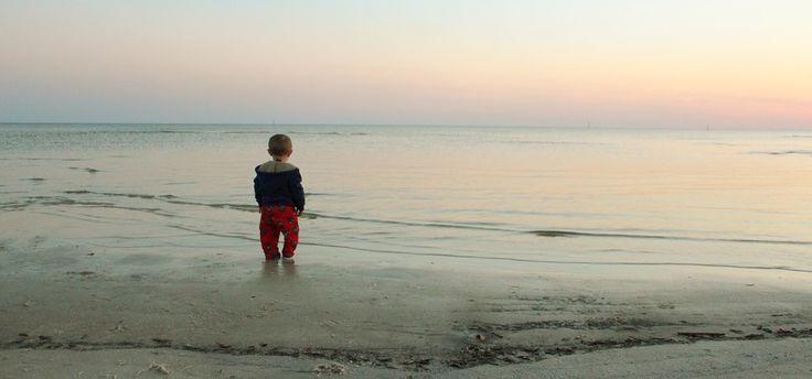 Oceaan, Strand, Kind, Baby, Peuter, Zonsondergang