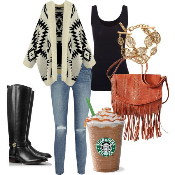 Boho-chic Outfit Idea for Fall - I have all of these elements, but not black riding boots, brown.