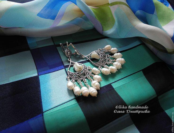 Купить Серьги На Море крупные серьги, серьги с жемчугом, жемчужные - серьги с подвесками