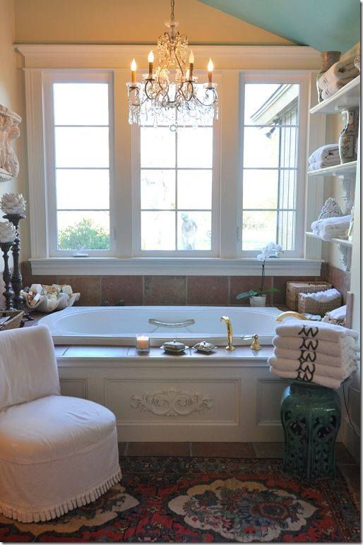 Shelves and tile around tub i would live in the bathroom for Romantic bathroom designs
