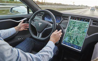 壁紙をダウンロードする テスラ, モデルs, 新しい電気自動車, 自動操縦装置