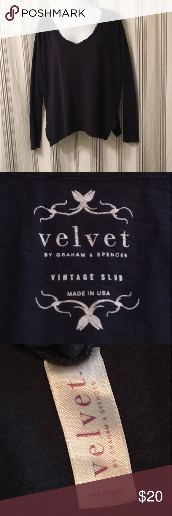 """Velvet by Graham & Spencer shirt! Navy blue Velvet by Graham & Spencer """"vintage slub"""" long sleeve tee. Slits at sides. Beautiful, slouchy tee. Worn once, great condition! Velvet Tops Tees - Long Sleeve"""