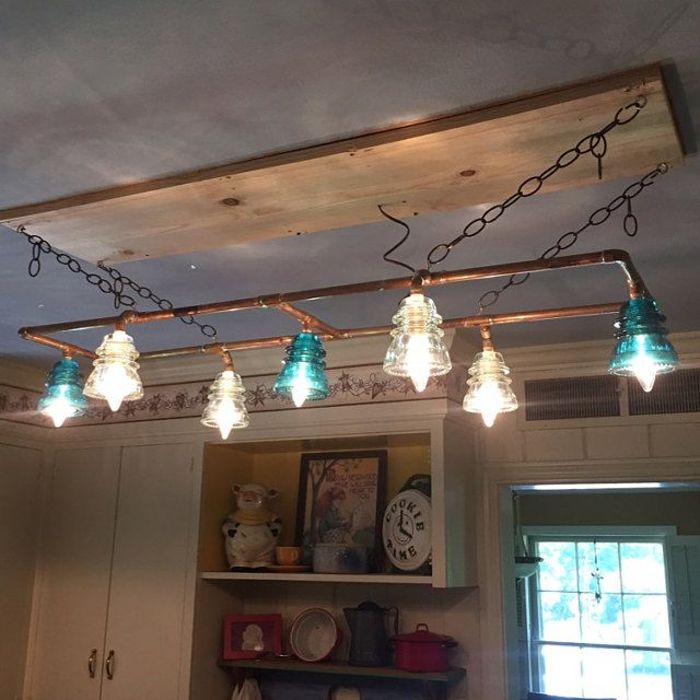 Another great insulator light our customer made with our for Diy glass insulator pendant light