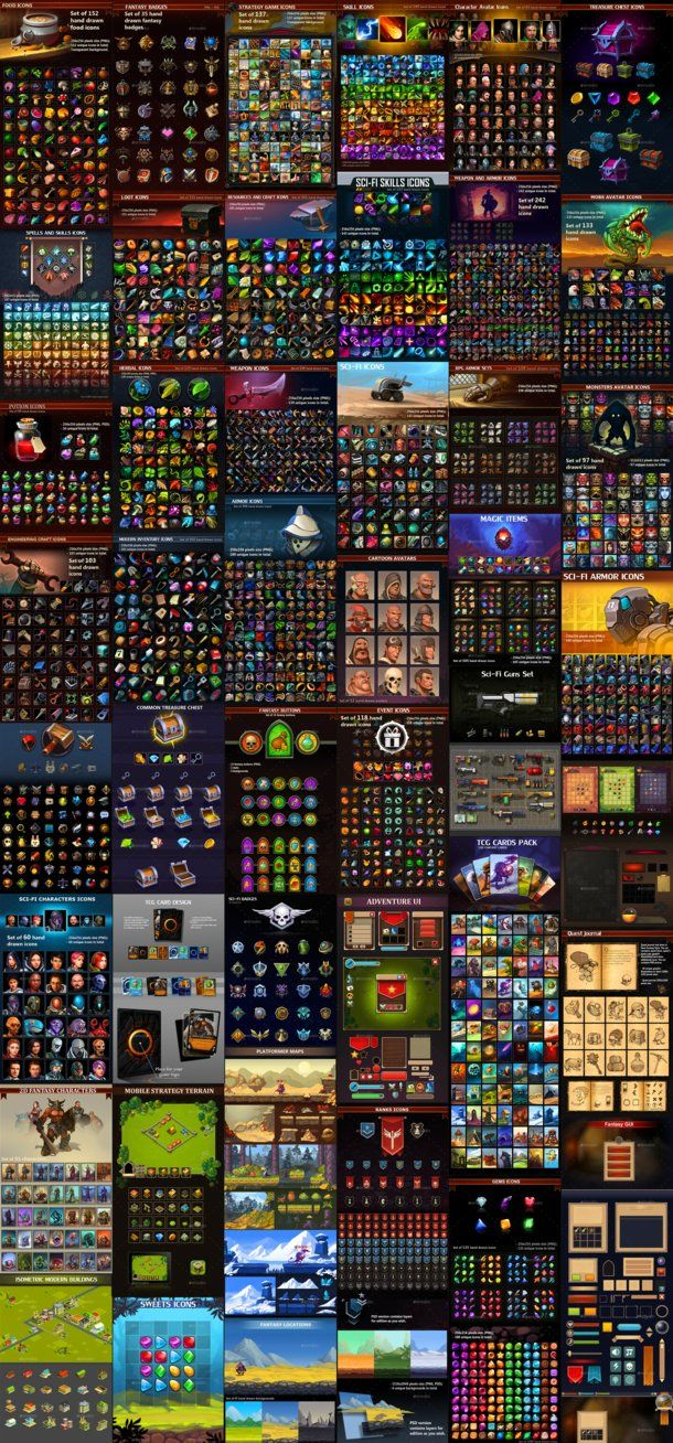 Game Assets Collection 01 Icons Characters By Graphicassets Deviantart Com On Deviantart Game Assets Free Game Assets Resources Icon