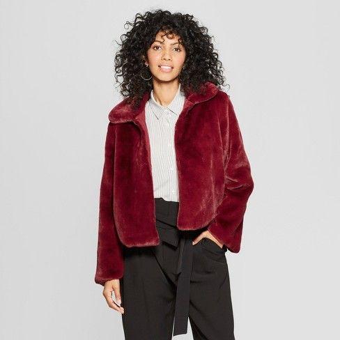 8fce5cdff Women's Faux Fur Jacket - A New Day™ Burgundy S : Target   Fashion ...
