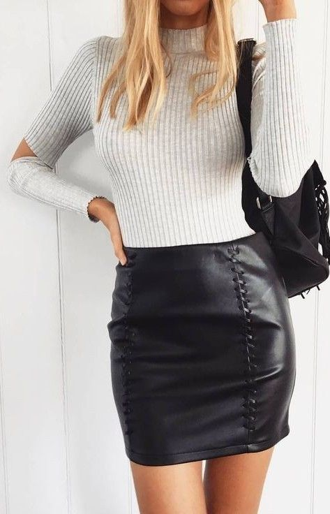 #prefall #muraboutique #outfitideas |  White Knit + Black Leather Skirt