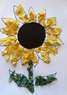 """Craftulate: Sunflower Craft. Great with """"Mommy's Little Sunflowers"""" by Angela McAllister."""
