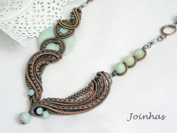 Copper Necklace Wire Wrapped Jewelry Handmade Woven by JOINHAS