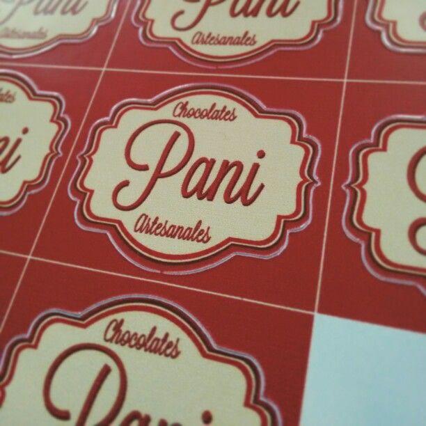 "Etiquetas troqueladas para Chocolates ""Pani"" :) Adhesivo impresion digital #arthesivo"