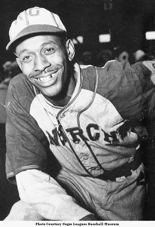 """Leroy """"Satchel"""" Paige.     Paige became a pitcher for the Kansas City Monarchs in 1941.     [Courtesy of the Negro Leagues Baseball Museum]"""