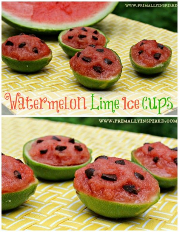 These watermelon lime ice cups would be so cute for our Labor Day party! and they have no refined sugar! via Primally Inspired