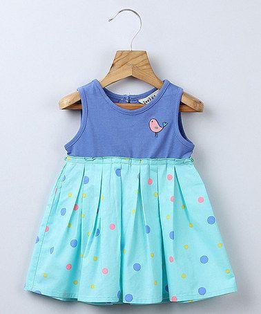 Loving this Blue Polka Dot Bird Swing Dress - Infant, Toddler & Girls on #zulily! #zulilyfinds