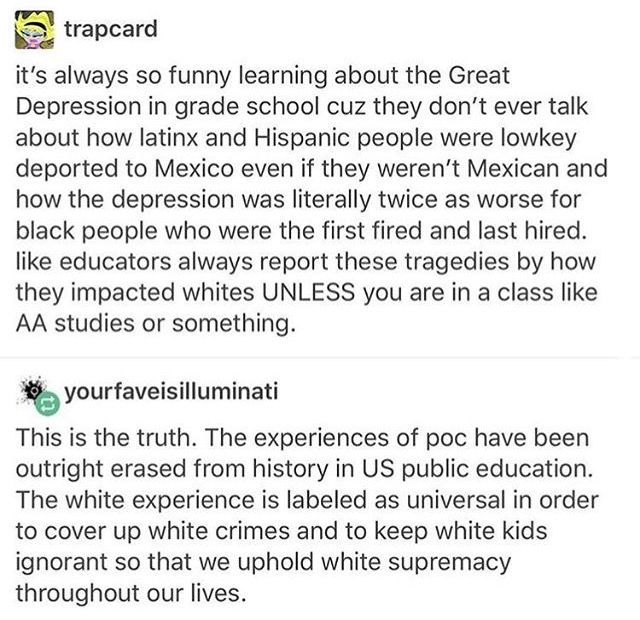 Over here in the UK we learnt about African Americans in the Depression but not the Hispanics