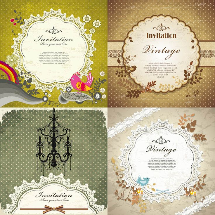 152 best craft invitation cards images on pinterest invitation vector decorative vintage invitation cards with frames stopboris Image collections