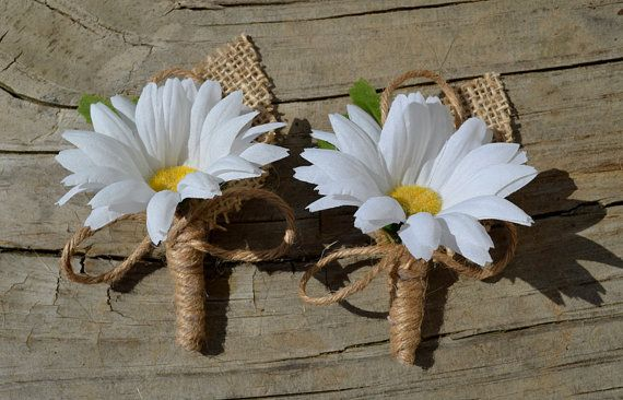 Daisy and Burlap Boutonniere Rustic Buttonhole by SplendidEvents, $7.00