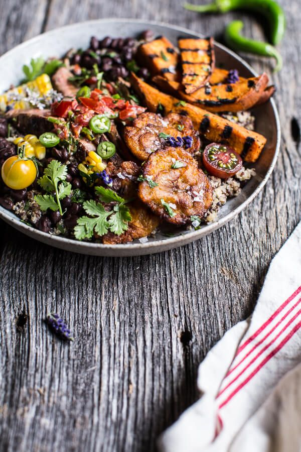 Brazilian Steak and Grilled Sweet Potato Fry Quinoa Bowl with Spicy Coconut Tomato Sauce   halfbakedharvest.com @hbharvest