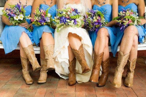 Bride & Bridesmaids In Cowboy Boots