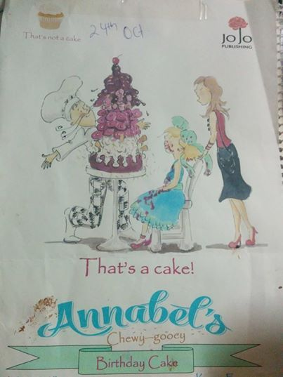 A page from Annabel's Chewy Gewy Birthday Cake, showing the drawing of the amazing cake: yum!!