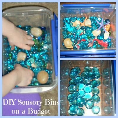 Step by step with photos on how to put together your own ocean-themed sensory bin on a budget. Costs less than $7! #preschool #Montessori #Ocean #SensoryBin #autism