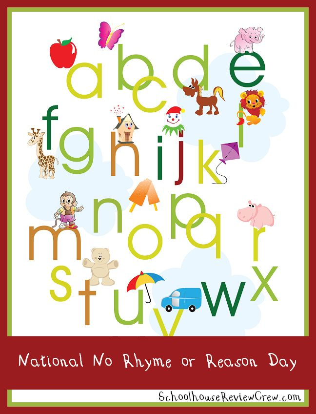 National No Rhyme or Reason Day - fun activities with words that don't rhyme with any other words!