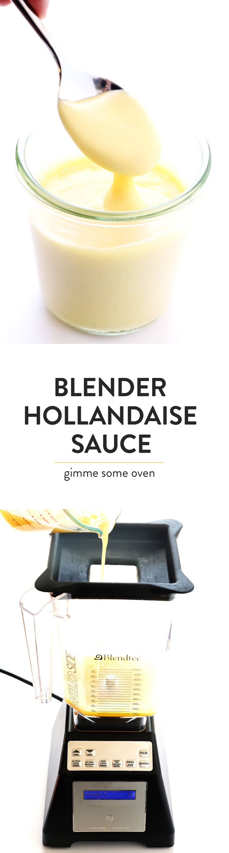 This Blender Hollandaise Sauce only takes about 5 minutes to make, and is perfectly creamy and delicious! Perfect for drizzling over Eggs Benedict, veggies, or whatever sounds good for brunch!   gimmesomeoven.com