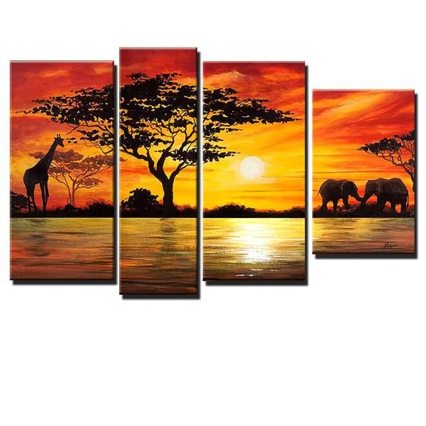 Beauty of Africa Canvas Wall Art Landscape Oil Painting is 100% hand-painted on canvas by a master artist and gallery-wrapped for museum quality finish.