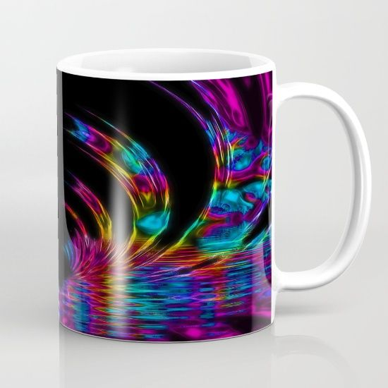 Rainbow Fractal mug. Artwork by Tracey Lee Art Designs.  Available in 11 and 15 ounce sizes, our premium ceramic coffee mugs feature wrap-around art and large handles for easy gripping. Dishwasher and microwave safe, these cool coffee mugs will be your new favorite way to consume hot or cold beverages.