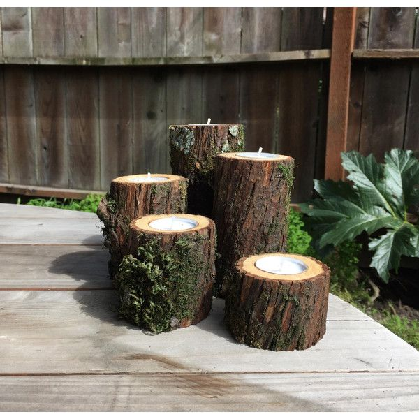 5 PC Set Tree Branch Candle Holders, Woodland Wedding Decor, Rustic... ($35) ❤ liked on Polyvore featuring home, home decor, candles & candleholders, battery tea light candles, battery candles, tree branch centerpieces, outdoor led candles and led tea light candles