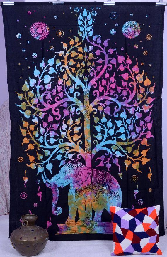 Elephant Tapestries , Hippie Gypsy tapestry , Tree Of Life Tapestries , Wall Tapestries , Bohemian tapestries, Tie Dye Tapestry Wall Hanging by THEWALLARTS on Etsy https://www.etsy.com/listing/215370968/elephant-tapestries-hippie-gypsy