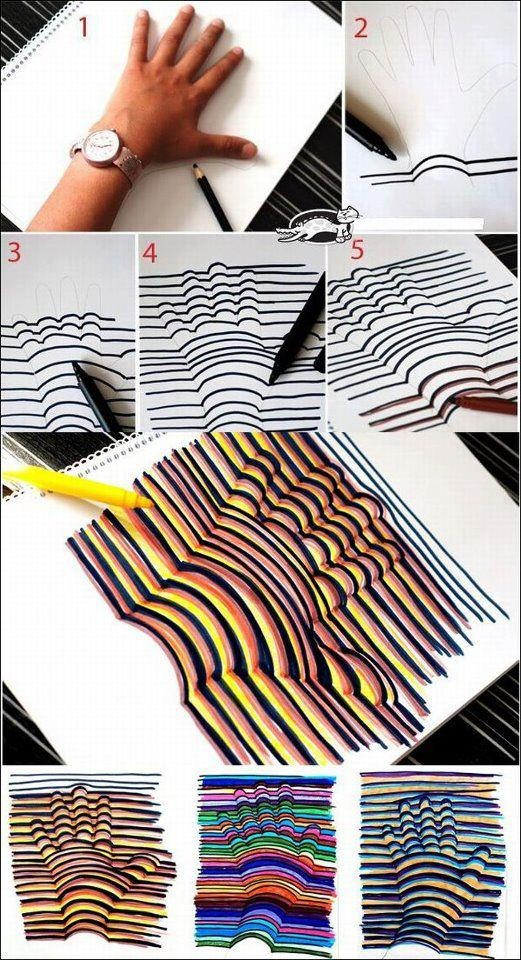 Hand art stripes lines how to diy