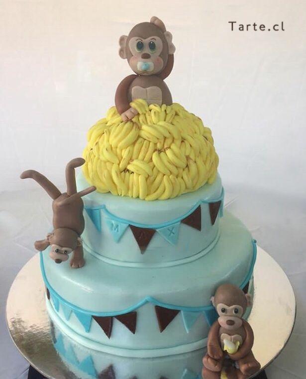 Torta de fondant monos baby shower