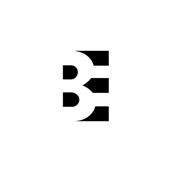 B E  logo - negative spacing