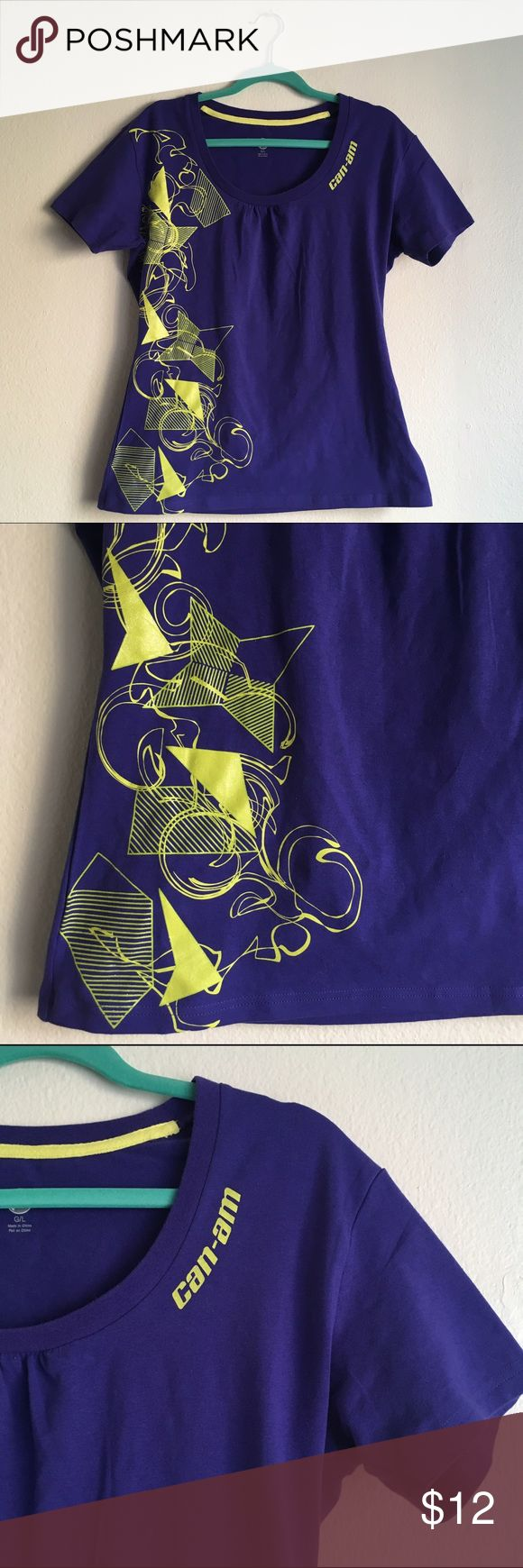 Can-Am Sport Tee - Purple and Yellow - Outdoors Stretch fabric, retains shape well. Washed once, never worn. Purple and yellow Can-Am sport tee. Great for outdoor wear, ATV riding, camping etc. Can-Am Tops Tees - Short Sleeve