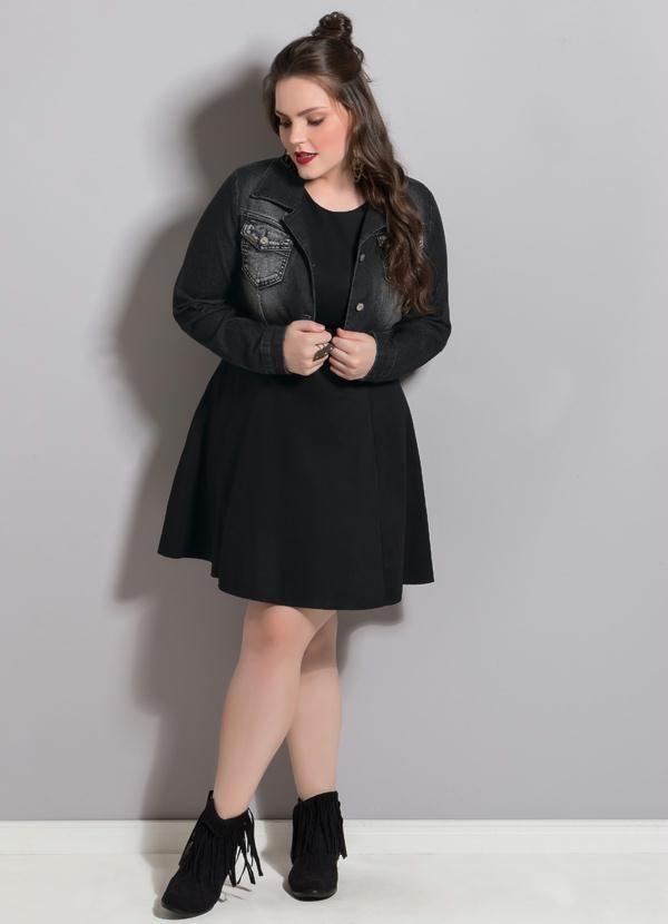 Jaqueta (Jeans Escuro) Plus Size