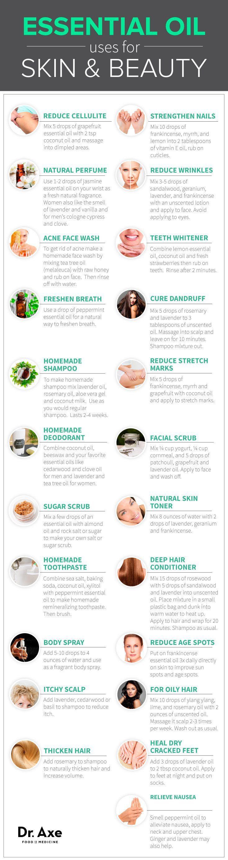 Uses of essential oils (spa, beauty, cleaning, medicine)