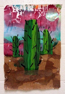 cactus collage. uses a wide variety of materials..really cool lesson.