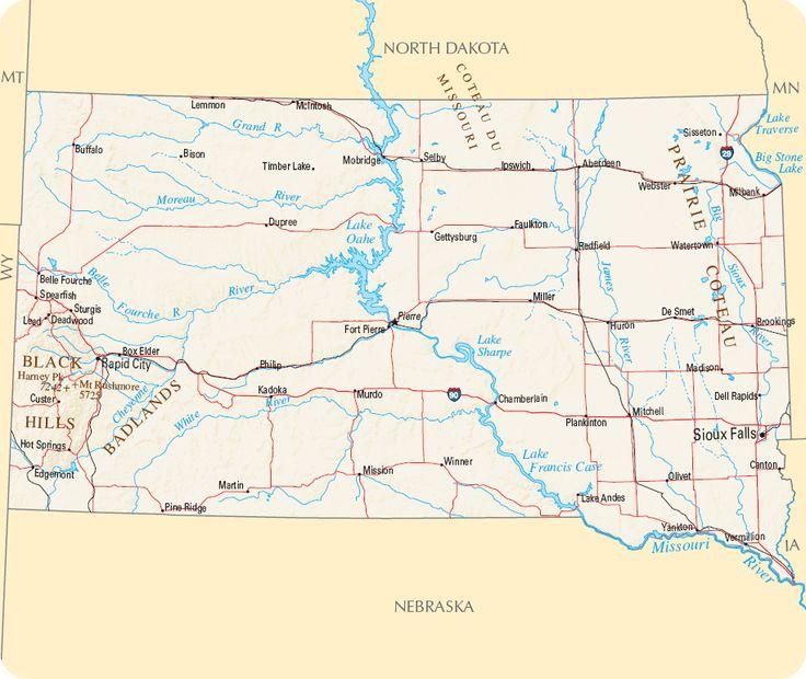 Carte Dakota du Sud