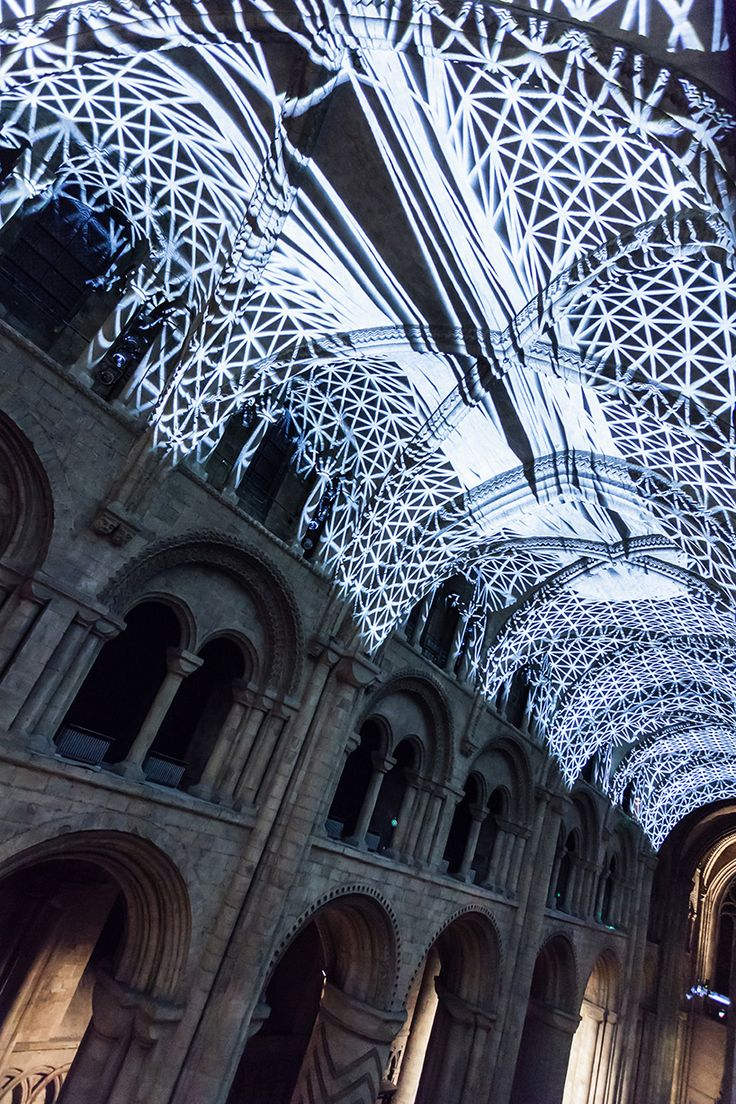 Miguel Chevalier projects complex meshes to Durham Cathedral, England.