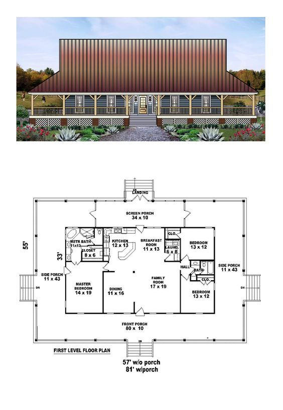 Country House Plan 45764   Total Living Area: 1871 sq. ft., 3 bedrooms and 2 bathrooms. #countryhome