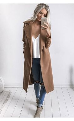 Pinterest: @eighthhorcruxx. Blue jeans, white tank, camel coloured coat and ankle boots. classic outfit