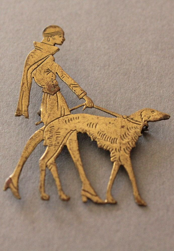 1920s Vogue Brooch, Lady Walking a Borzoi, via Etsy. Love this.